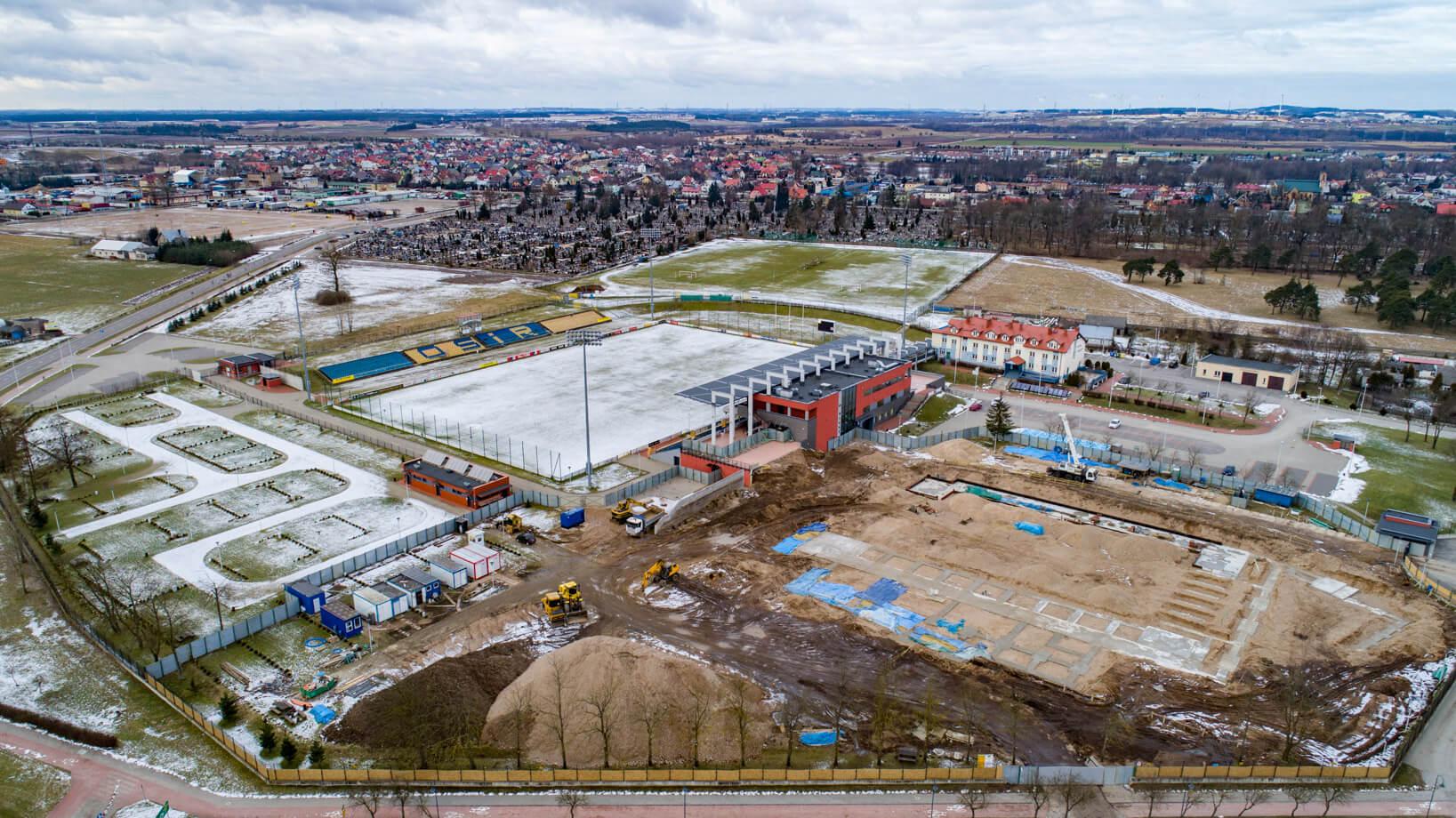 Suwałki Arena - plac budowy z lotu ptaka